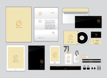 Gold and black corporate identity template for your business set2 Royalty Free Stock Image