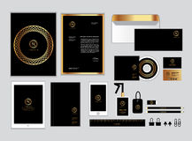 Gold and black corporate identity template for your business set 2 Stock Images