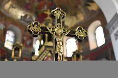 Gold and Black Crucifix Stock Images