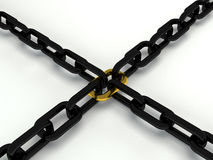 Gold and black 3d chain Royalty Free Stock Photos