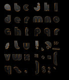 Gold black 3D letters. 3d gold-black ABC  on the black background Royalty Free Stock Photo