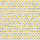 Gold and black dots on white background. Seamless pattern Stock Photo