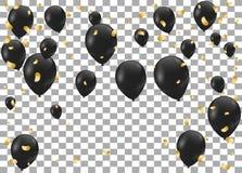 Gold and black elegant vector balloons.Black balloons Royalty Free Stock Photography