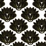 Gold and black floral emblem design seamless pattern Royalty Free Stock Photos