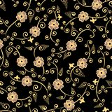 Gold on black chinese floral seamless pattern stock photos