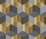 Gold and black geometry hexagon seamless fabric sample. royalty free illustration