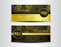Gold and black Gift Voucher template, coupon design,ticket, bann Stock Image