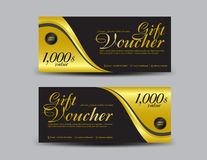 Gold and black Gift Voucher template flyer design  Royalty Free Stock Image