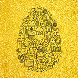 Gold and Black Happy Easter Line Icons Set Egg Shape Stock Image