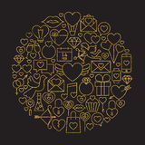 Gold and Black Happy Valentine Day Line Icons Set Circle Shape Royalty Free Stock Image