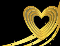 Gold black heart background. With three curves and small hearts Stock Image
