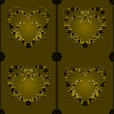 Gold and black hearts seamless background Stock Photo