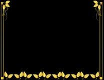 Gold and black leaf background. Gold leaf design on a black background Royalty Free Stock Photo
