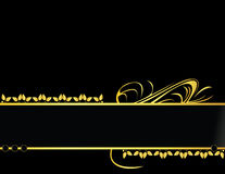 Gold and black leaf banner background. Gold banner design on a black background stock illustration