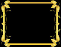 Gold and black leaf frame. Gold frame design on a black background stock illustration