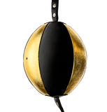 Gold and black leather boxing double bag isloated on white. Stock Photo