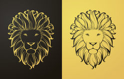 Gold and black lion icon Stock Images