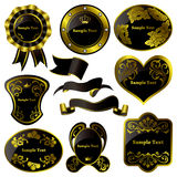 Gold and black luxury frames set Royalty Free Stock Photos