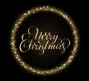 Gold and black Merry Christmas card with hand drawn lettering and glitter frame. Festive sparkling background, vector Royalty Free Stock Photography
