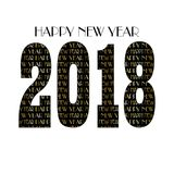 Gold black new years eve 2018 typography pattern. Vector graphic royalty free illustration