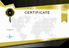 Gold black official certificate and map Stock Photography