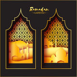 Gold Black Origami Mosque Window Ramadan Kareem Greeting card Stock Photo
