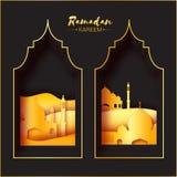 Gold Black Origami Mosque Window Ramadan Kareem Greeting card stock illustration