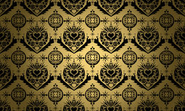 Gold with black ornament Royalty Free Stock Photography