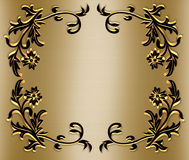 Gold and black Ornamental Border. Black and gold 3D ornamental frame, background, border or invitation on satin with copy space Stock Image