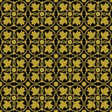 Gold on black ornate flower and circle tile art deco seamless repeat pattern background. Two colour ornate flower and circle tile art deco seamless repeat Stock Photos