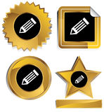 Gold and Black - Pencil. Set of 3D gold and black chrome icons - pencil Stock Image