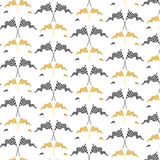Gold and black race flags pattern Stock Photo