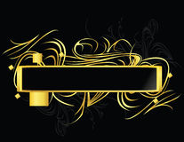Gold black rectangular element. Gold and black rectangular frame on a black background stock illustration