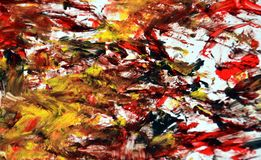Gold black red soft painting watercolor background, abstract painting watercolor background. Black gold yellow blurred soft brush strokes, colors are placed at stock photo