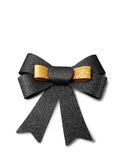 Gold and black ribbon isolated on white, clipping path. Royalty Free Stock Photo