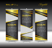 Gold and black Roll Up Banner template vector illustration Stock Image