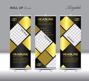 Gold and black Roll Up Banner template vector illustration Stock Photos
