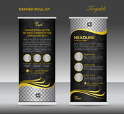 Gold and black Roll up banner  template vector,  stand flyer pos Stock Photo