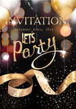 Gold and black Royal party invitation card with defocused lights, air balloons and gold curly ribbon. Stock Image