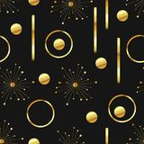 Gold and black seamless abstract background. Vector seamless abstract background with gold foiled elements on black background. Beautiful repeating pattern with royalty free illustration