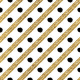 Gold and black seamless pattern of diagonal strokes circle. Geometric gold and black seamless pattern of diagonal strokes and circle, black and golden shiny Royalty Free Stock Photos