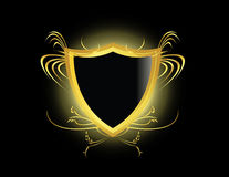 Gold black shield. Gold and black shield on a black background Stock Photo