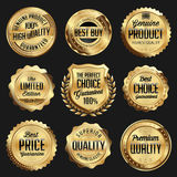 Gold and Black Shiny Luxury Badge. Luxury Set. Stock Photos