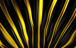 Gold and black silk drapery and fabric background. 3d render. Ing Royalty Free Stock Photo