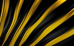 Gold and black silk drapery and fabric background. 3d render. Ing Stock Images