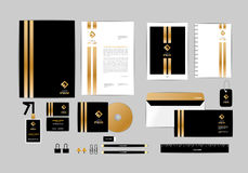 Gold, black and silver corporate identity template for your business 6 Stock Photo