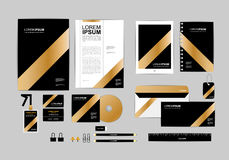 Gold, black and silver corporate identity template for your business 7 Stock Photos