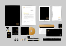 Gold, black and silver corporate identity template for your business 9 Stock Images