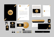 Gold, black and silver corporate identity template for your business 8 Royalty Free Stock Images