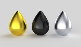Gold black silver metallic ink drops. Multiple color water drop shapes: Shiny golden paint, chrome reflective silver and black oil petroleum droplet Royalty Free Stock Photography